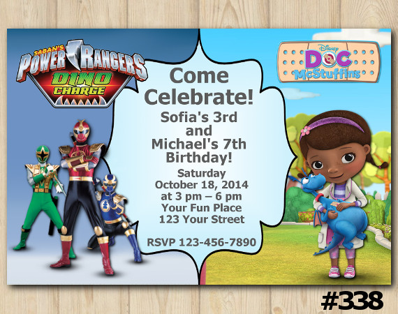 Twin Power Rangers and Doc McStuffins Invitation | Personalized Digital Card