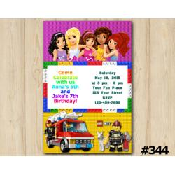 Twin Lego Friends and Lego City Invitation