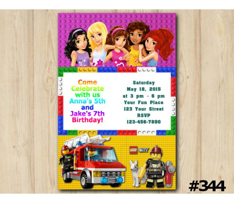 Twin Lego Friends And City Invitation