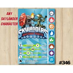 Skylanders Game Card Invitation | Wildfire, WashBuckler