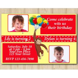 Twin Curious George Invitation with Photo