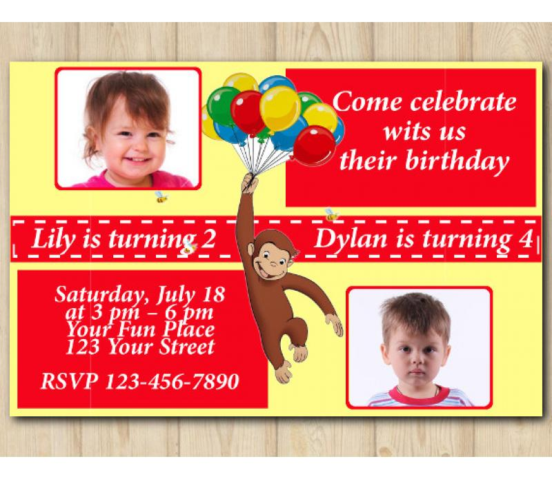 Twin Curious George Birthday Invitation