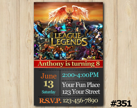 lol birthday invitation  league of legends invitation template