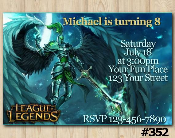 League of Legends Invitation   Kayle   Personalized Digital Card