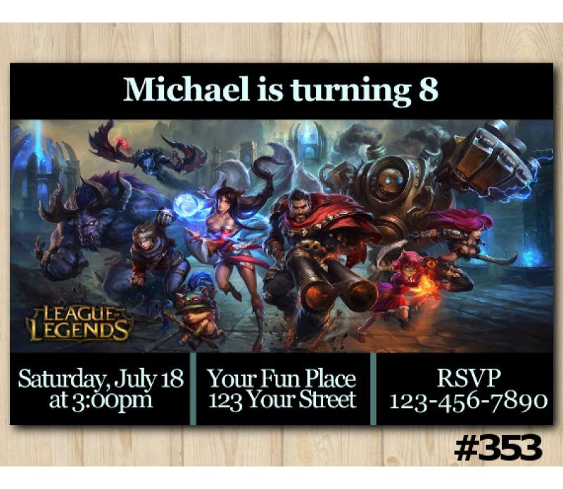 league of legends birthday invitation  lol invitation template