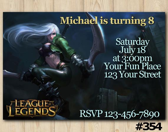 League of Legends Invitation   Katarina   Personalized Digital Card