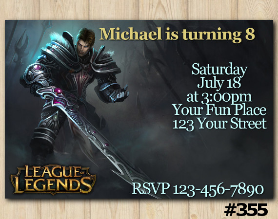 League of Legends Invitation   Garen   Personalized Digital Card