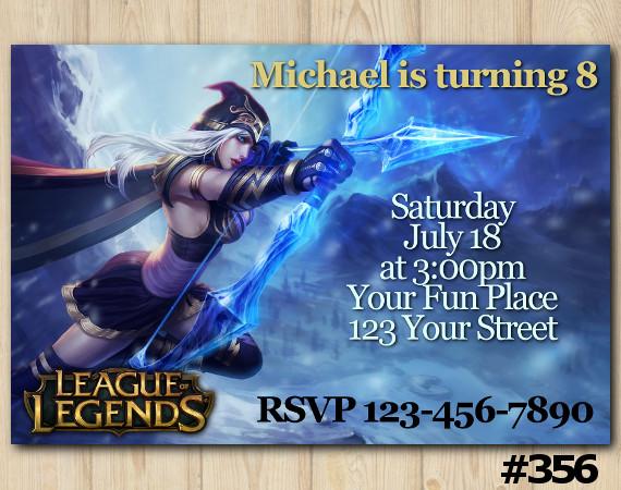 League of Legends Invitation | Ashe | Personalized Digital Card