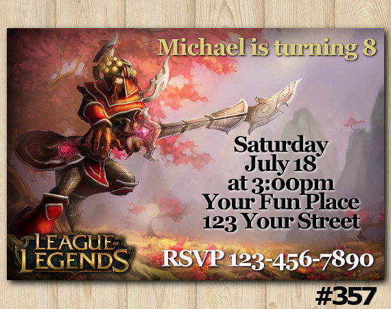 League of Legends Invitation   Master Yi   Personalized Digital Card