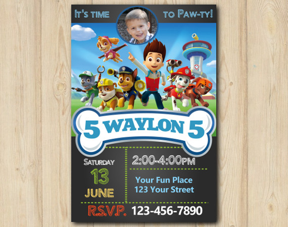 picture relating to Paw Patrol Printable Birthday Card named Paw Patrol Invitation with Picture Customized Electronic Card