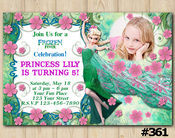 Frozen Fever Birthday Invitation with Photo | Personalized Digital Card