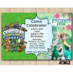 Twin Frozen Fever and Skylanders Invitation