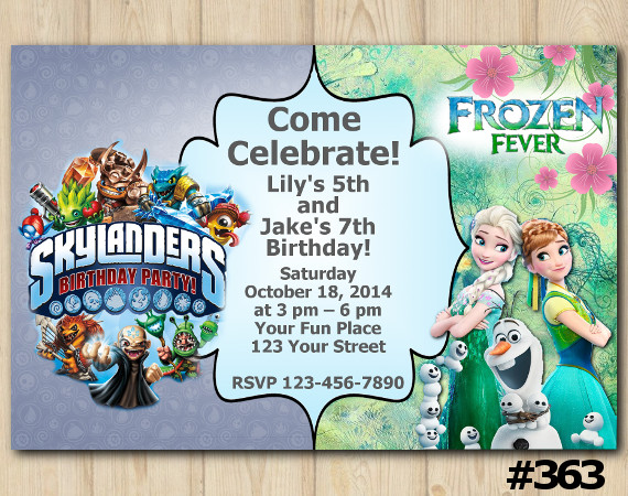 Twin Frozen Fever and Skylanders Invitation | Personalized Digital Card