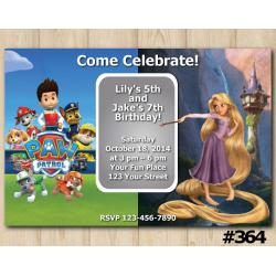 Twin Paw Patrol and Rapunzel Invitation