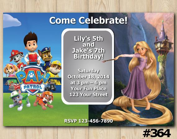 Twin Paw Patrol and Rapunzel Invitation | Personalized Digital Card