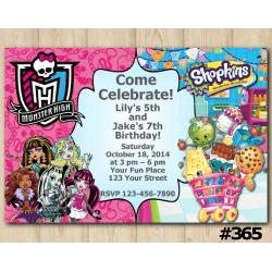 Twin Monsters High and Shopkins Invitation