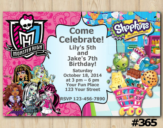 Twin Monsters High and Shopkins Invitation | Personalized Digital Card