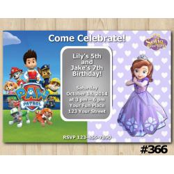 Twin Paw Patrol and Sofia the First Invitation