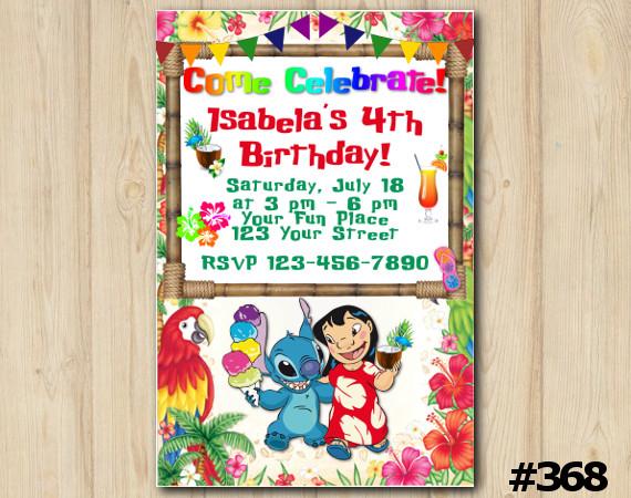Lilo & Stitch Luau Invitation   Personalized Digital Card