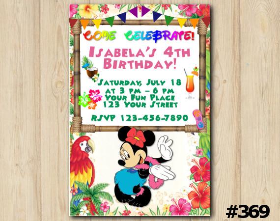 Minnie Mouse Luau Invitation | Personalized Digital Card