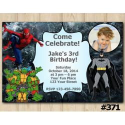 Twin Spiderman and TMNT and Batman Invitation with Photo