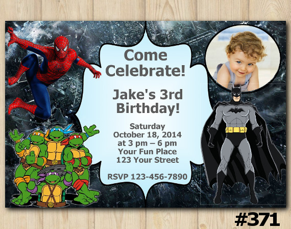 Twin Spiderman and TMNT and Batman Invitation with Photo | Personalized Digital Card