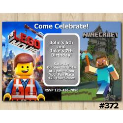 Twin Lego the Movie and Minecraft Invitation