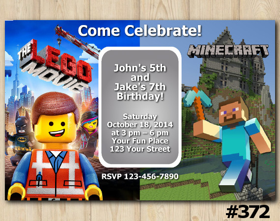 Twin Lego the Movie and Minecraft Invitation | Personalized Digital Card