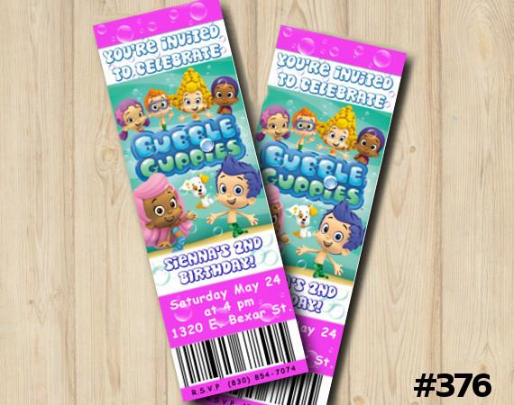 Bubble Guppies Ticket Invitation | Personalized Digital Card