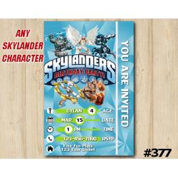 Skylanders Game Card Invitation | KnightLight, KnightMare, Gearshift, Wallop