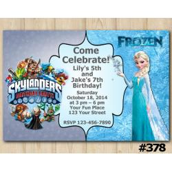 Twin Frozen and Skylanders Invitation