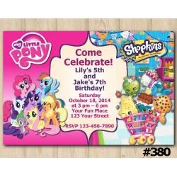 Twin My Little Pony and Shopkins Invitation
