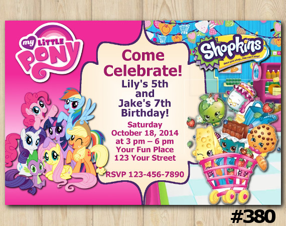 Twin My Little Pony and Shopkins Invitation | Personalized Digital Card