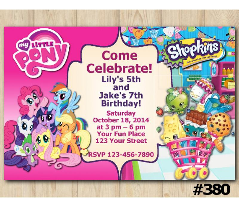 graphic regarding Shopkins Printable List identify Dual My Very little Pony and Shopkins Invitation Custom made Electronic Card