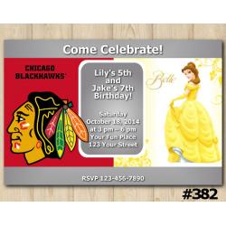 Twin Princess Belle and Blackhawks Invitation