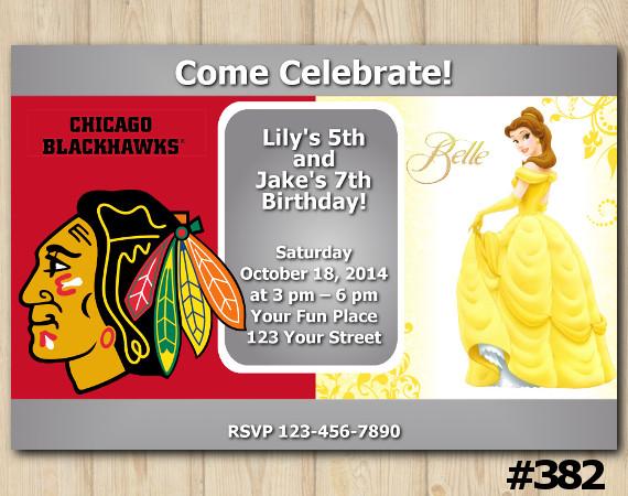 Twin Princess Belle and Blackhawks Invitation | Personalized Digital Card