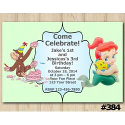 Twin Curious George and Ariel Invitation