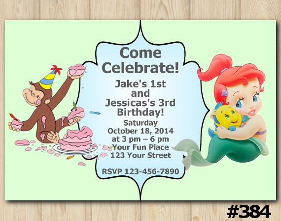 Twin Curious George and Ariel Invitation | Personalized Digital Card