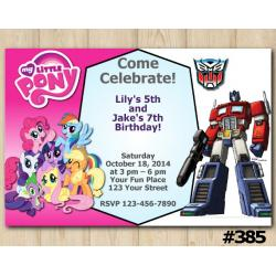 Twin My Little Pony and Transformers Invitation
