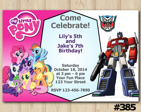 Twin My Little Pony and Transformers Invitation | Personalized Digital Card