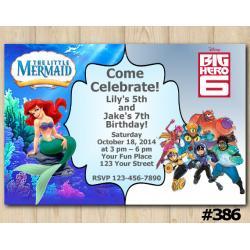 Twin Ariel and Big Hero Invitation