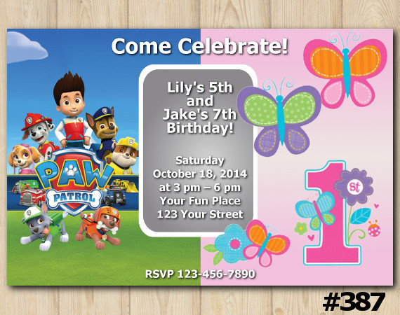 Twin Paw Patrol And Buterfly Invitation