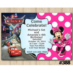 Twin Disney Cars and Minnie Mouse Invitation