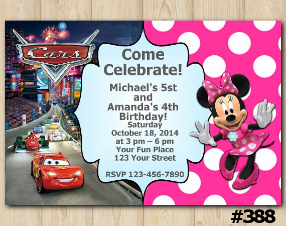 Twin Disney Cars and Minnie Mouse Invitation | Personalized Digital Card