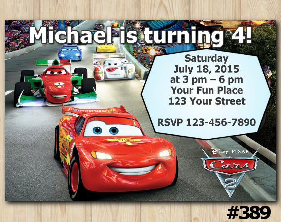 Disney Cars Invitation | Personalized Digital Card