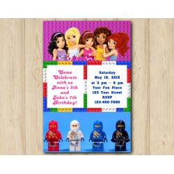 Twin Lego Friends and Lego Ninjago Invitation