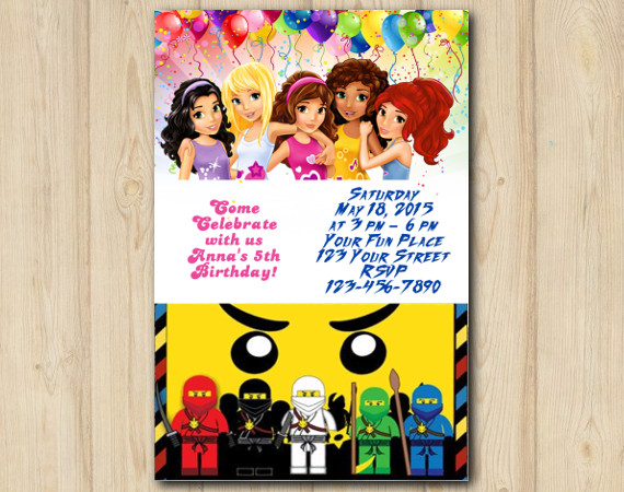 Twin Lego Friends And Ninjago Invitation
