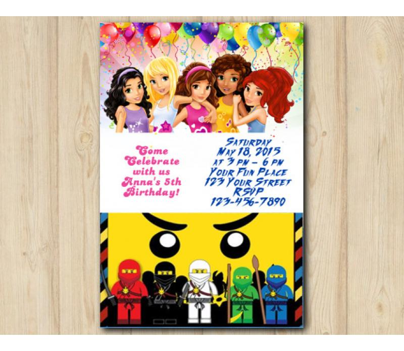 Twin Lego Friends And Lego Ninjago Birthday Invitation Template