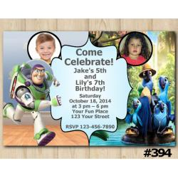 Twin Toy Storry and Rio Invitation with Photo