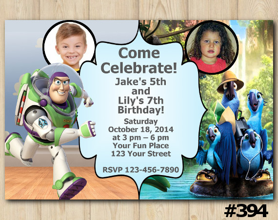 Twin Toy Storry and Rio Invitation with Photo | Personalized Digital Card